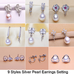 Shiny Pearl Earring Setting Zircon & Silver Earrings Setting Pearl Stud Earring Mounting Earring Blank DIY Jewelry DIY Gift 18pcs lot