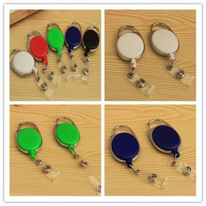 Wholesale New Retractable Pull Badge Reel Zinc Alloy ABS Plastic ID Lanyard Name Tag Card Badge Holder Reels Recoil Belt Key Ring Chain Clips
