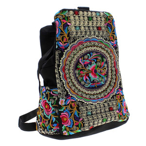 Wholesale China National Trend Tribal Canvas Flower Embroidery Ethnic Handmade Backpack Nappy Bags