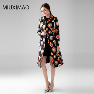 Wholesale Custom Plus Size Dress High Quality Long Coat Women Full Sleeve Elegant Double Breasted Black Heart gemstone Vintage Coat Women