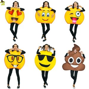 Wholesale Funny face Emoji Party Costume Sponge Clothes Fancy Dress In Christmas Costume Suit For Adults mascot