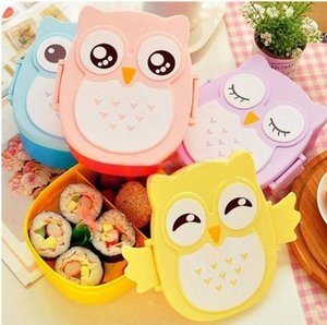 Wholesale Lovely Cartoon Owl Lunchbox Bento Box Food Fruit Storage Container Plastic Lunch box Microwave Cutlery Set for Children