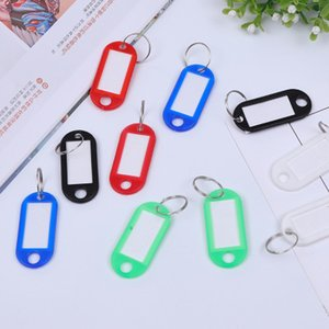 Wholesale Colorful Key Tags Plastic Keychain Key Tags ID Label Tags Split Ring Keyring Keychains Name Key Card Marking Christmas Gift DHL