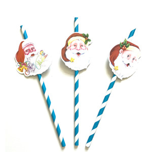 China Factory Sales Christmas Party Decoration Santa Claus Christmas Tree Modeling Paper Card Sucker Christmas paper card straw
