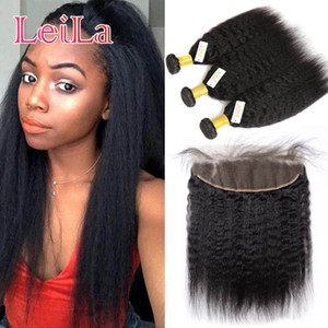 Peruvian Human Hair 13x4 Lace Frontal Closure With Bundles Virgin Hair kinky Straight Pre Plucked Frontal Lace Closure With 3 Bundles
