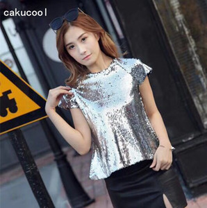 Wholesale Cakucool New Bling Tshirt Women Summer Short Sleeve Full Sequins Tee Shirt Tops Slim Luxury Party Dance T Shirts Female colors