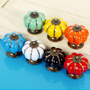 ingrosso comò per camera da letto -Lovely Pumpkin Ceramic Maniglie Manopole Kitchen Cabinet Kids Furniture Camera Dresser mm Drawer Pull Maniglia Furniture