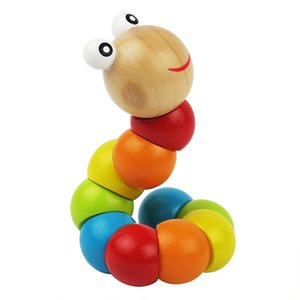 The simulation of Twisting Caterpillar Children Activity Toys Wooden Colorful Twisting Caterpillar Educational Kid Science Twisting Worm Toy