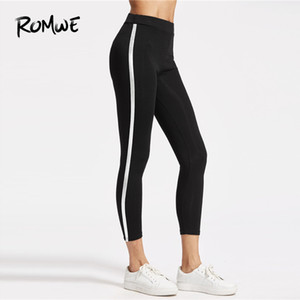 Wholesale Romwe Sport Black Striped Side Women Fitness Stretchy Yoga Pants Workout Outdoor Gym Running Jogging Sport Capri Leggings