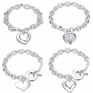 Wholesale order sterling silver for sale - Group buy Mixed Order Sterling Silver Plated Heart Pendant Charm Bracelet Bangles Fashion Party Jewelry Valentine s Day Gift for Women