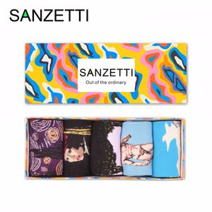 Wholesale SANZETTI pairs Gift Box Men s Colorful Combed Cotton David Waves Oil Painting Dress Socks Casual Funny Crew Wedding Socks
