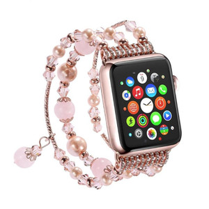 Wholesale Strap for Apple Watch Band Agate Crystal Beaded Metal Bracelet Strap Band for iWatch Generation Pearl Replacement Band