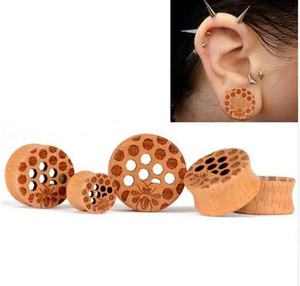 Wood Cellular Mesh Ear Tunnels Piercing Jewelry Women Ear Stretchers Plugs Flesh Ear Gauges Expanders 1 Pair