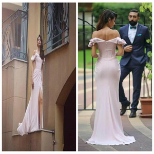 2018 Sweetheart Pink Off Shoulder Mermaid Prom Dresses Elegant Short Sleeves Side Split Red Carpet Dress Sweep Train Evening Occasion Gowns