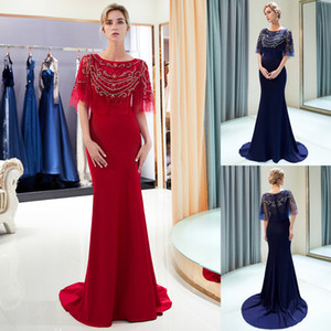 Wholesale satin apple red wedding dress resale online - Luxury Beaded Mermaid Evening Dresses with Wrap Sweep Train Designer Formal Occasion Dress Long Prom Gown Wedding Guest Dress CPS1159