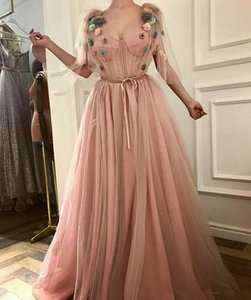2018 Evening Dresses Dusty Pink Prom Dresses With 3D Handmade Flowers Deep Sweetheart Neckline Tulle Women Formal Wear Evening Gowns Vestido on Sale