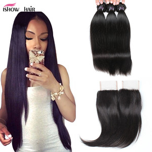 "8-28""Brazilian Body Wave Virgin Hair Extensions Wholesale 3 4Bundles With 4x4 Lace Closure Straight Peruvian Human Hair Bundles With Closure"