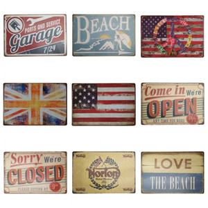 Wholesale Vintage Style Iron Painting Beach Parts And Service Garage cm Tin Signs National Flag Tin Posters Hot Sale ZB