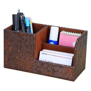 Free shipping 203*93*111(mm)Factory direct cross-border office pu leather pen box multifunctional desktop storage boxes