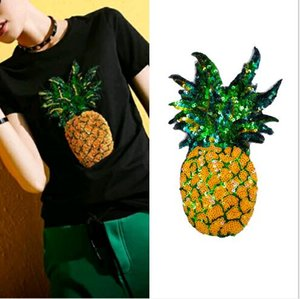 Wholesale 22cm Embroidery yellow pineapple sequins patch iron on clothing Large fruit applique sew on DIY T shirt bag embroidered patches