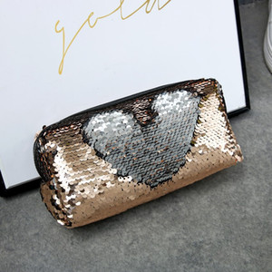 DHL Hot Sequins Makeup Bag Newest Creative Color Change Sequins Bags Students Pencil Case Mermaid Sequins Storage Bags