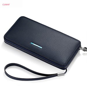 Wholesale CUWHF New Anti theft brush Genuine Leather Men Wallets Long Zipper Wallets Business Male Wallet Large capacity mobile Clutch