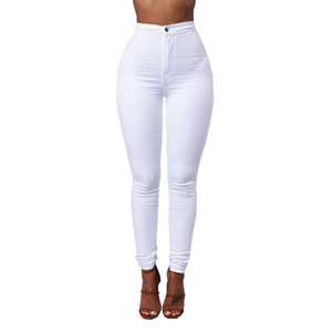 Wholesale Candy Color Skinny Jeans Woman White Black High Waist Render Jeans Vintage Long Pants Pencil Pants Denim Stretch Feminino