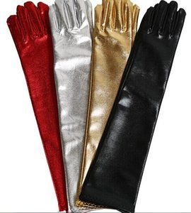 Extensible leather gloves stretch bright red and black leather men and women over the elbow tight gloves fun on Sale