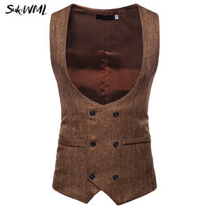 Wholesale SUKIWML Mens Suit Vest New Fashion Men Formal Sleeveless Vest Slim Fit Double Breasted Waistcoat High Quality Vests For Men