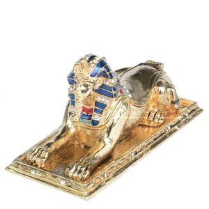Egyptian Theme Guardian Sphinx Decorative Trinket Box Classical Egypt Statue Collectible Egyptian Decoration Creative Gifts