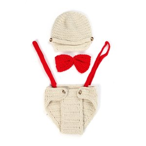 Wholesale DreamShining Baby Hat Outfit Bow Knitted Newborn Photography Props Girl Boy Handmade Beanie Cap Photo Props Costumes Accessories