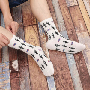 Wholesale ZDL Funny Men s Casual Cotton Dress Crew Robot Britain Creative Printed Art Socks pairs