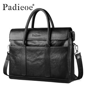 Wholesale PADIEOE fashion brand men briefcase genuine leather business male inch laptop