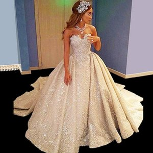 Newest Luxurious Lace Ball Gown Wedding Dresses Appliques Beaded Lace Up Back Bridal Gowns Princess Plus Size Bride Wedding Gowns
