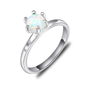 Wholesale mexico silver jewelry for sale - Group buy 5 Anniversary Gift Real White Fire Opal Gems Sterling Silver Flower Ring Mexico American Australia Weddings Jewelry Gift