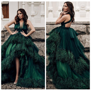 Wholesale 2019 Custom Dark Green High Low Celebrity Dresses V-Neck Feather Adorned Sexy Back Carpet Prom Evening Gowns Formal Puffy