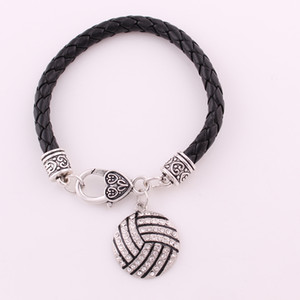 Sporty Style Charm Bracelets Volleyball With Sparkling Crystals Pendant Leather Chain Zinc Alloy Provide Drop Shipping