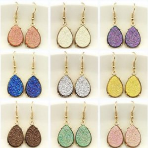 Wholesale Chic Hot New Druzy Crystals Teardrop Dangle Drop Rose Purple Drop Earrings Women