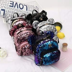 Wholesale Kids Girls Backpacks Korean Fashion Baby Girls Big Ears Bear Backpack Cool Shiny Personalized Sequin Bags Kids Travel Shoulders Bag Colors