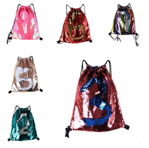 Wholesale Women Girls Rainbow Color Mermaid Drawstring Bags Magic Reversible Sequins School Bag Travel Backpack Packet Drop Shipping 7Color