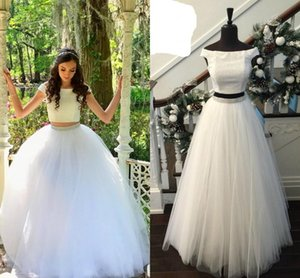 Wholesale White Ball Gown Long Prom Dresses Off the shoulder Scoop Neck Two Pieces Tulle Sequins Beaded Bling Designer Cheap Evening Formal Dress Gown