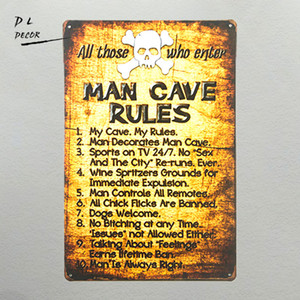 Wholesale DL shabby chic Retro Man Cave Rules Tin Sign Metal Funny Novelty Wall Art Dorm Garage Home Decor