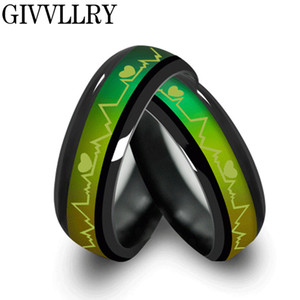 Wholesale Fashion Titanium Black Mood Rings Temperature Emotion Feeling Engagement Rings for Women Men Jewelry Promise Rings for Couples