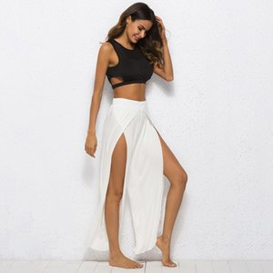 Plus Size Solid Summer Women Pants Split Long Full Length Fashion Streetwear High Waist Women Wide Leg Pants Trousers on Sale