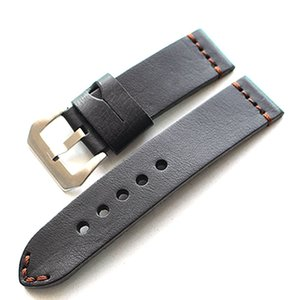 Wholesale Men Handmade mm mm mm Vintage Black Italy Calf Leather Strap Retro Watchband Bracelet For Pam And Big Watch