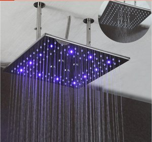 Wholesale rain head showers resale online - Shower head Inch dual functions rain and mist shower head mirror surface led change bathroom shower