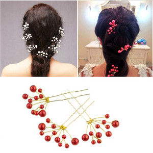 Wholesale Red Imitation Pearl Hairpin Bride Wedding Gypsophila Hair Jewelry Accessories Handmade Beaded Alloy Hair Fork