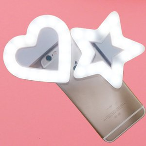 Wholesale USB Charge LED Portable Flash Led Camera Clip on Mobile phone Ring light video lights Enhancing For Cell Phone Star Heart Shape