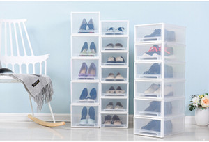 Wholesale Stackable Transparent Plastic Shoes Storage Box Creative Drawer Style Dustproof Female Male Children Shoes Organizer High heeled Shoes Case