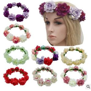 H04 Europe and the United States new hot selling headdress Bohemia beach simulation flowers hair hoop bridal garland hair ribbon wholesale